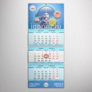Печать квартальных календарей с одним рекламным полем