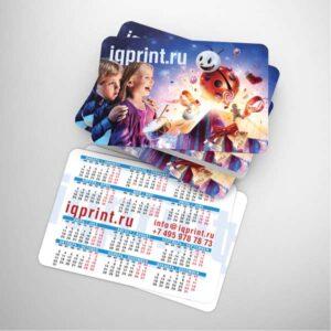 Печать карманных календарей, с ламинацией, с круглением углов